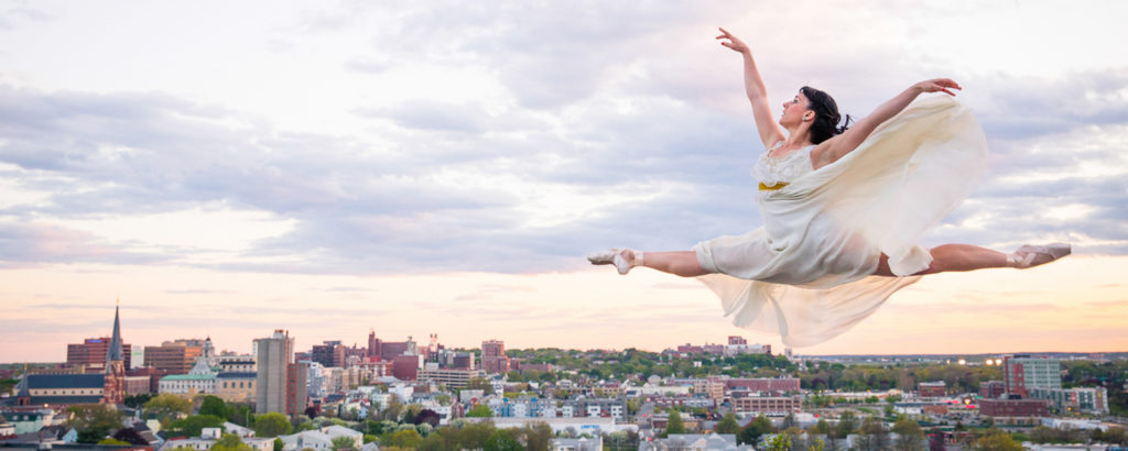 Ballet Dancer over Portland Skyline, Photo Credit: Jonathan Reece