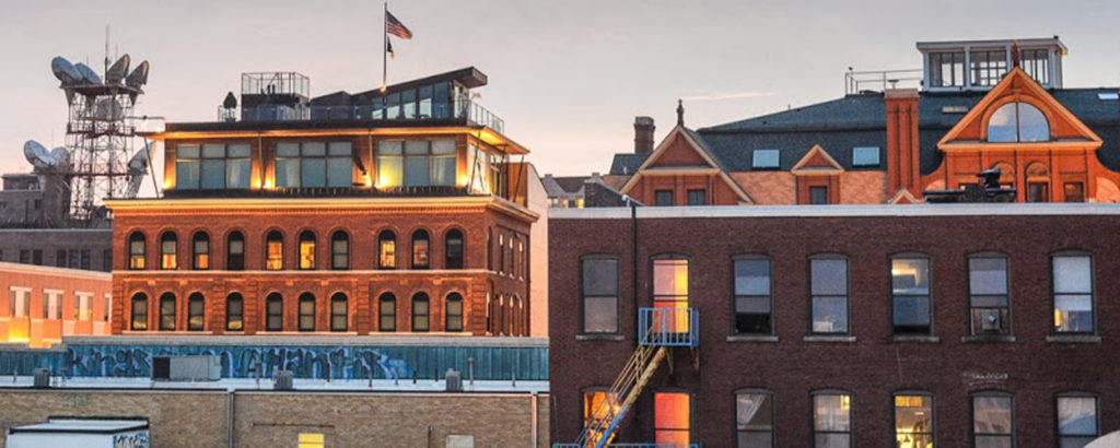 portland maine red brick buildings from rooftop