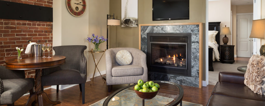 Indoor Fireplace at Hotel, Photo Courtesy of 16 Bay View