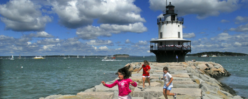 Kids Playing on Spring Point Lighthouse Pathway, Photo Credit: Chris Lawrence