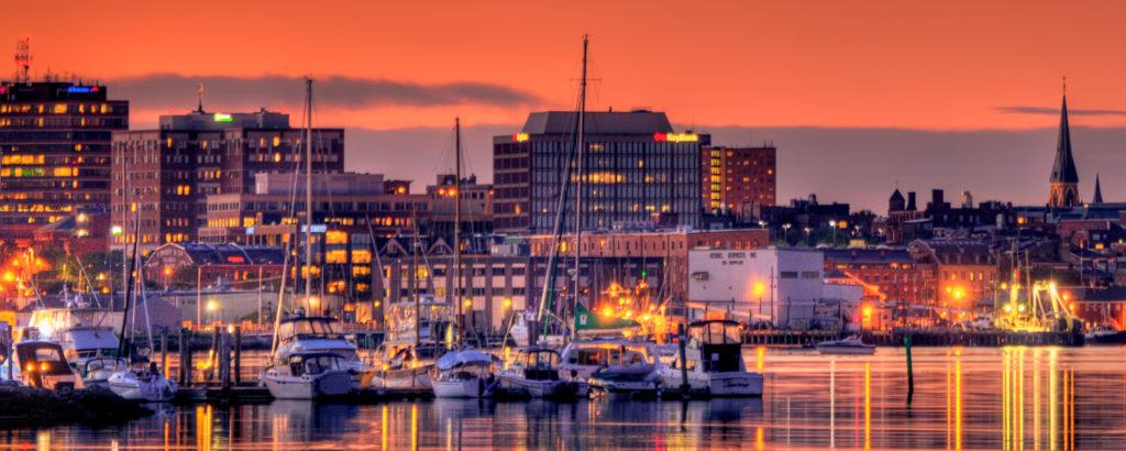 Portland Maine Downtown City Lights at Sunset, Photo Credit: Kim Seng