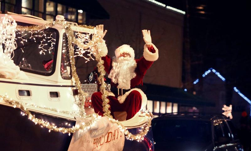 Sparkle Celebration with Santa Riding on Lit-up Float, Photo Courtesy of Visit Freeport