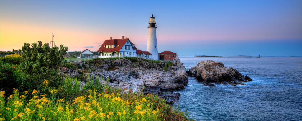 Yellow flowers in the foreground of Portland Head Light Lighthouse, Photo Credit: Kim Seng