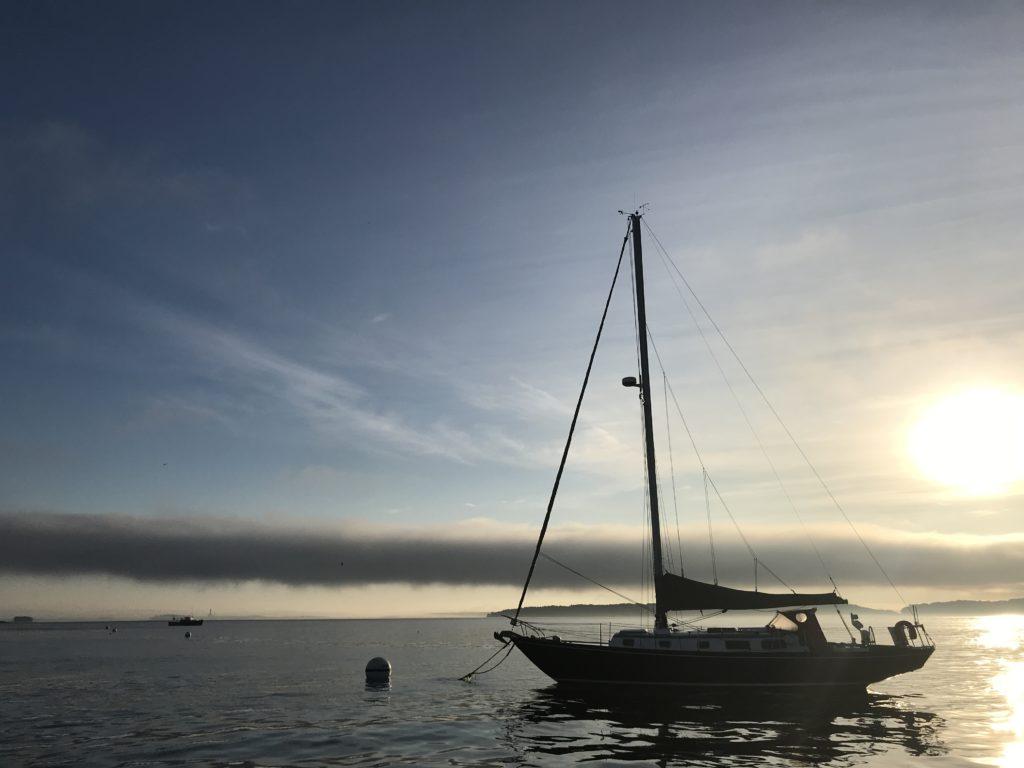 Sailboat on Casco Bay in Mist, Photo Courtesy of Visit Portland / GLP Films
