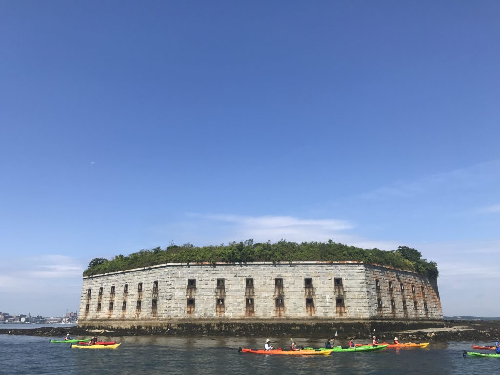 Kayakers in Front of Fort Gorges Military Fort, Photo Courtesy of GLP Films