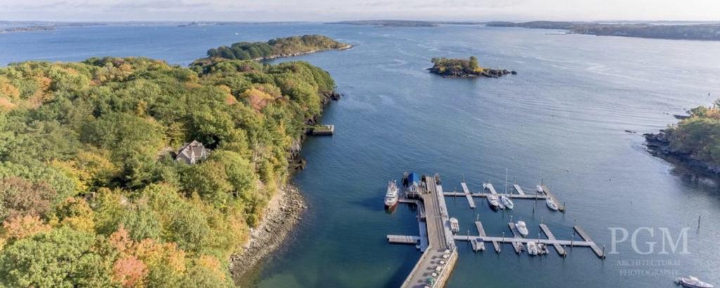 Ariel Shot of Boat Docks in Fall, Photo Credit: Peter G. Morneau