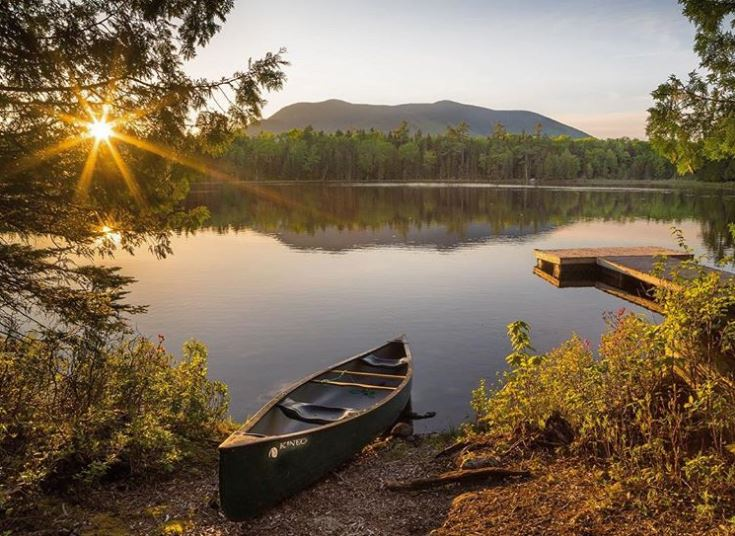 Canoe perched on water's edge at Baxter State Park
