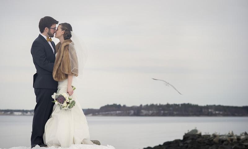 Winter Wedding Couple, Photo Credit: Kate McElwee Photography