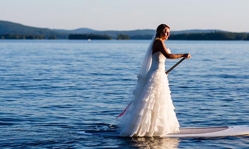 Bride Stand-Up Paddleboarding, Photo Credit: Emilie Inc.