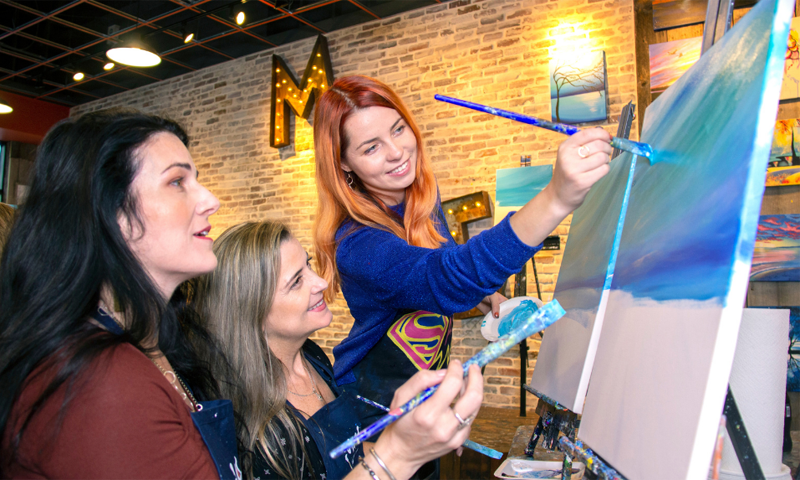 Group Painting at Muse Paintbar, Photo Courtesy of Muse Paintbar